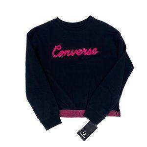 CONVERSE Pink Metallic Logo Crewneck Sweatshirt